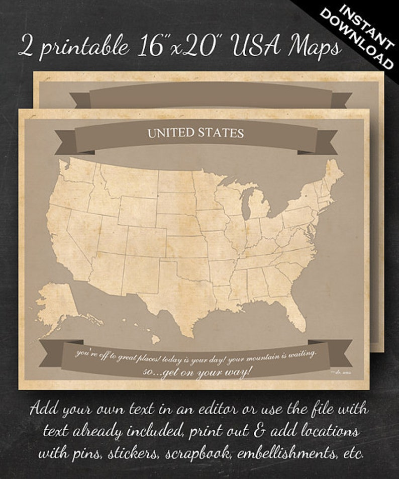 United States Travel Maps  Printable USA Travel Map Instant image 0