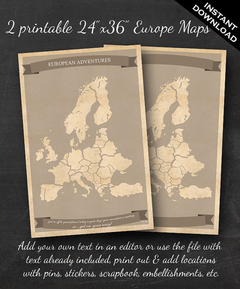 European Travel Maps  Printable Europe Travel Map Instant image 0