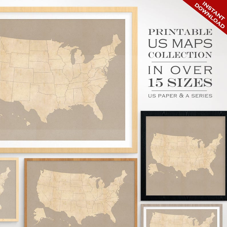 Custom Travel Maps  Printable US Travel Maps  Vintage United image 0