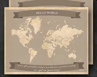 """World Travel Maps - Printable World Travel Map Instant Download - 16""""x20"""" Wall Art - 2 pack - With Text or Add your own text"""