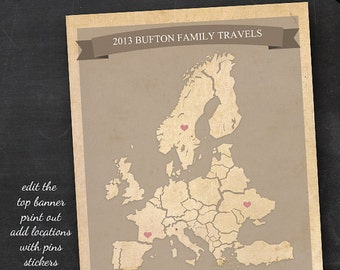 Travel Map - Printable Editable Europe Travel Map Instant Download