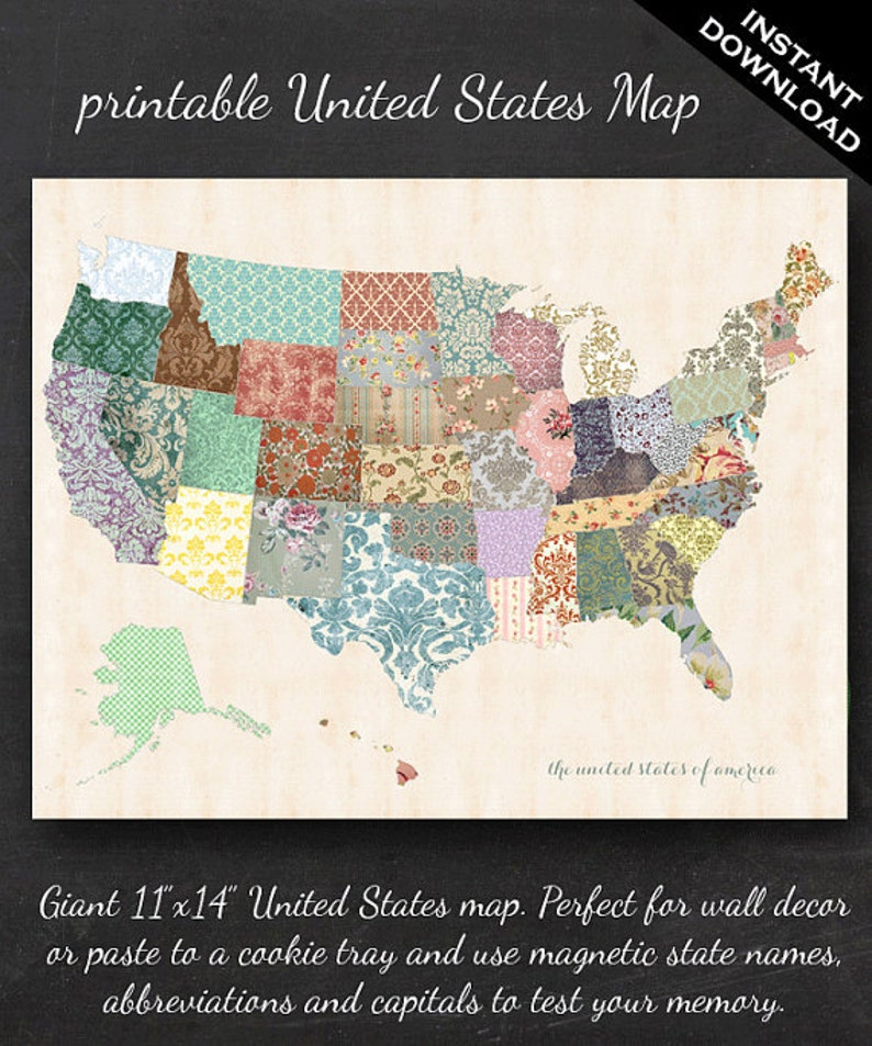 Printable United States Map  11 x 14 Shabby Chic image 0