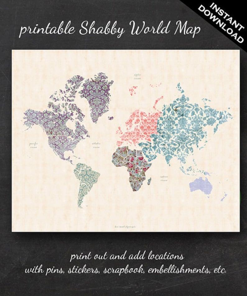 Printable World Map  16 x 20 Shabby Chic PDF  image 0