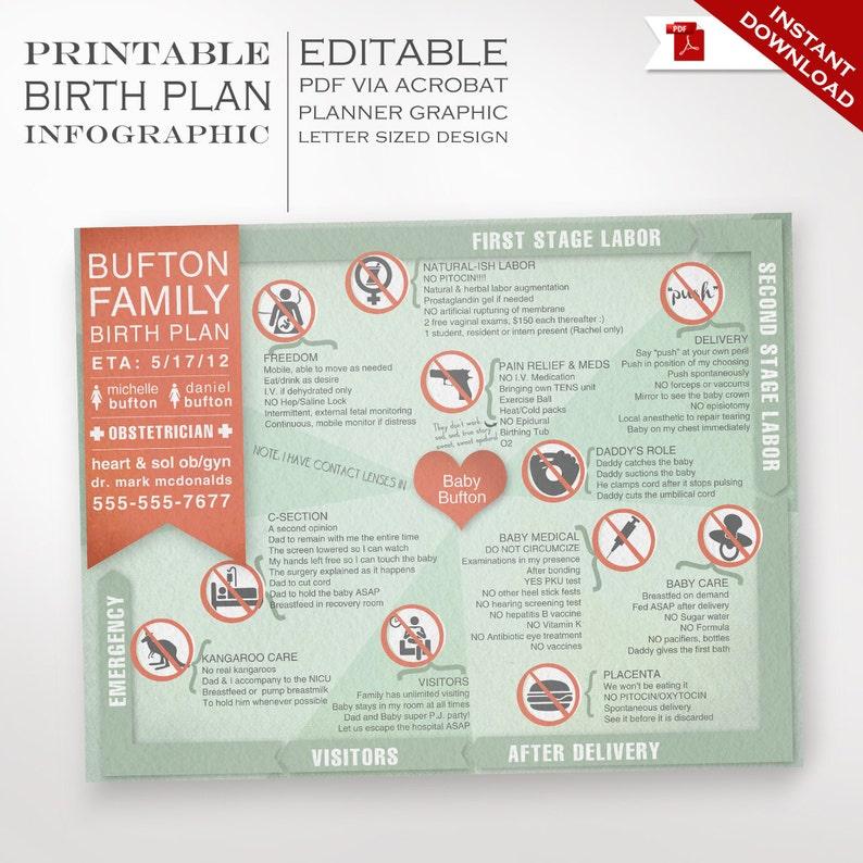 Birth Plan Template  Printable Editable Keepsake Birthing image 1