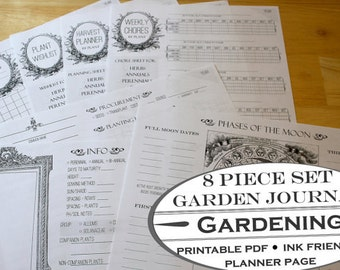 8 Piece Printable Garden Planner, Garden Journal add on for Homestead Journals and Housekeeping Planners