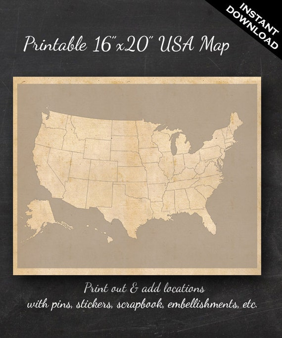 Us Travel Map Download United States Travel Maps Printable USA Travel Map Instant | Etsy