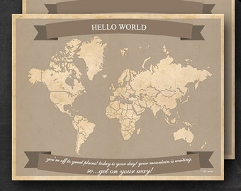 """World Travel Maps - Printable World Travel Map Instant Download - 11""""x14"""" Wall Art - 2 pack - With Text or Add your own text"""