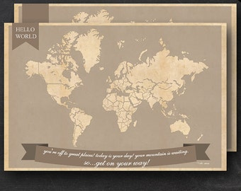 """World Travel Maps - Printable World Travel Map Instant Download - 24""""x36"""" Wall Art - 2 pack - With Text or Add your own text"""