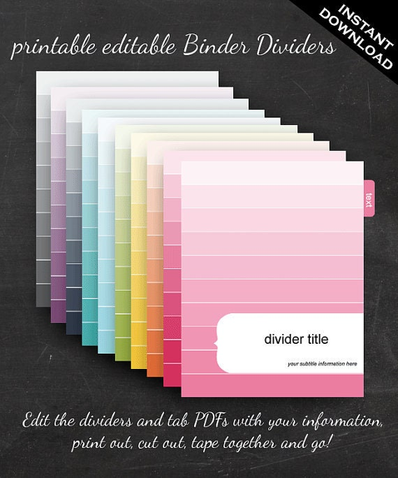 photograph regarding Printable Binder Tabs called Binder Dividers - Printable Editable Rainbow Ombre Topic Fast Down load - Residence Company Small business Business Clroom Homeschool