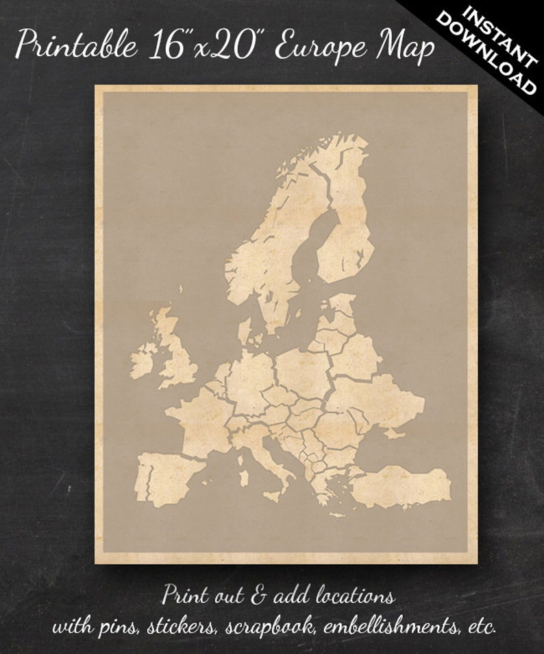 European Travel Maps  Printable Europe Travel Map Instant image 0