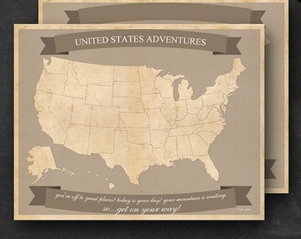 """United States Travel Maps - Printable USA Travel Map Instant Download - 11""""x14"""" US Wall Art - 2 pack - With Text or Add your own text"""