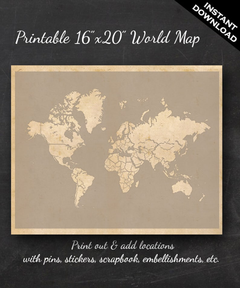 World Travel Maps  Printable World Travel Map Instant image 0