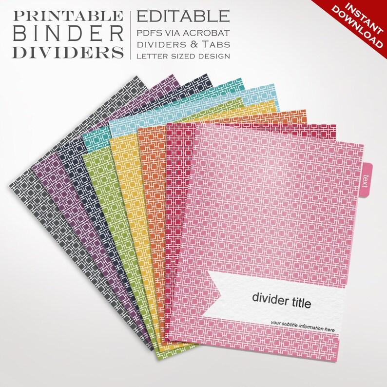Binder Dividers  Printable Binder Dividers Editable Rainbow image 0