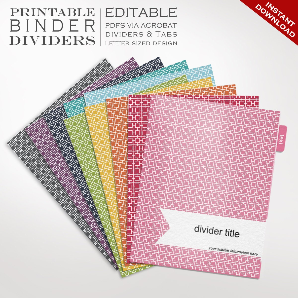 Binder Dividers Printable Binder Dividers Editable Rainbow