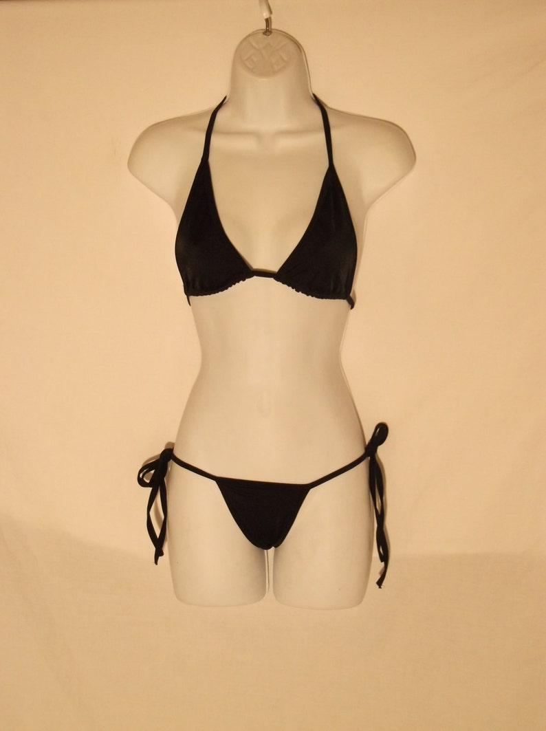 256cf2ef8 Sexy tie side thong bikini stripper dancer swimsuit