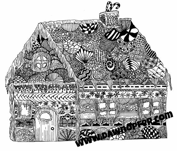 - Gingerbread House Coloring Page Zen Drawing Coloring Book Etsy