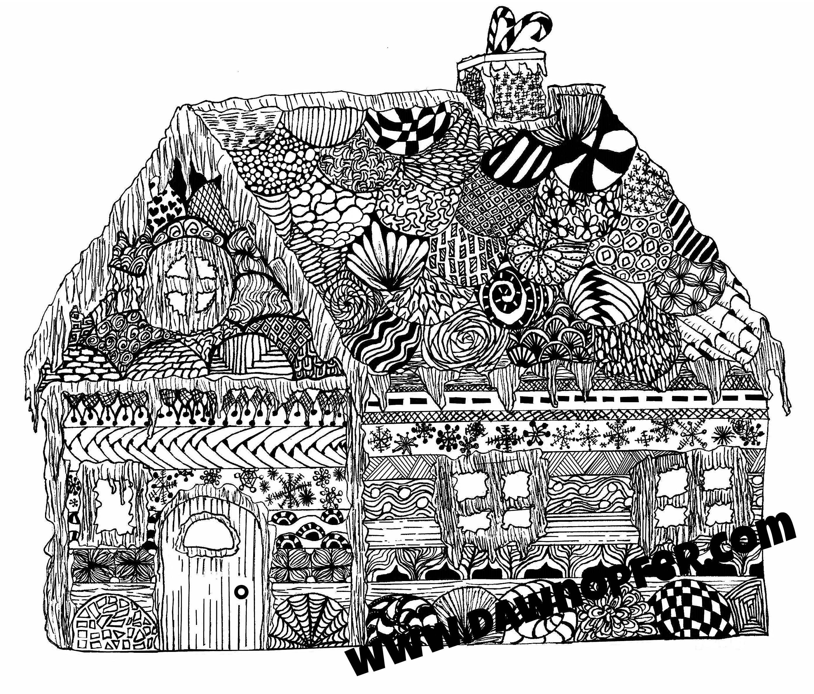 Gingerbread House Coloring Page Zen drawing Coloring Book ...