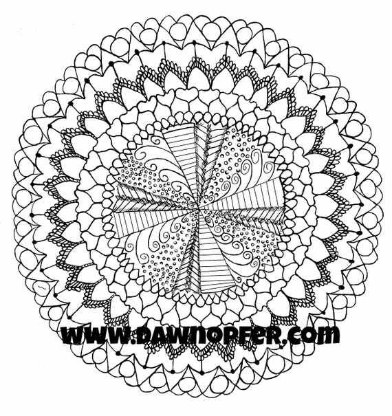 Mandala Coloring Page, Zen drawing, Coloring Book page
