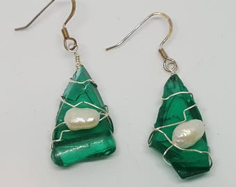 Broken Green Jar & Freshwater Pearl Earrings