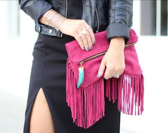 Susan G. Tata clutch- fuchsia fringe clutch with removable crossbody chain and turquoise tusk charm