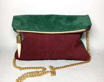 Autumn Foldover Clutch (large). Burgundy and Hunter Green Suede clutcg with Removeable Gold Crossbody Chain. Creme and Gold Tusk