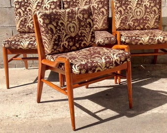 Mid Century Danish Modern Set of Four (4) Dining Chairs by John Keal for Brown-Saltman, Mid Century Dining Chairs, Danish Modern Chairs
