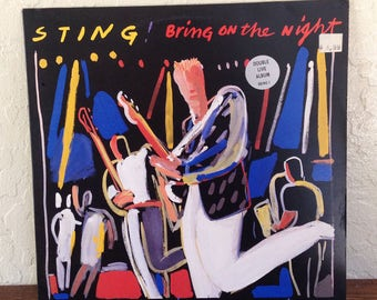 "Sting - Bring on the Night 12"" Vintage Vinyl Record Album LP 33 RPM, Rock Record, 80s Vinyl Record, Sting Vinyl Record, Pop Rock Record"