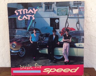 "The Stray Cats - Built for Speed 12"" Vintage Vinyl Record Album LP 33 RPM, Rockabilly Vinyl Record, Rockabilly Album LP, 80s Vinyl Record"