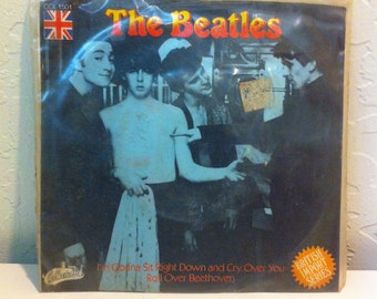 The Beatles - Roll Over Beethoven / Im Gonna Sit Right Down & Cry Over You, 45 RPM Vinyl Record, Beatles 7 Inch Vinyl, Rare Beatles Singles