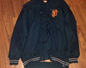 90s Vintage San Francisco Giants Puffy Hooded Starter Jacket, 90s Starter Jacket, Vintage Snap Front Jacket, Vtg San Francisco Giants Jacket