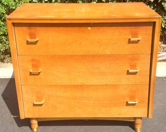 Mid Century Modern Three Drawer Dresser, MCM Small Chest of Drawers, The Goldenaire Kent Coffey, Mid Century Bedroom, MCM Atomic Dresser