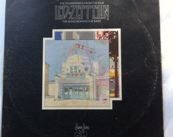 "The Song Remains The Same Soundtrack - Led Zepplin 12"" Vintage Vinyl Record Album LP 33 RPM, Rock Vinyl Record, 70s Vinyl Record"