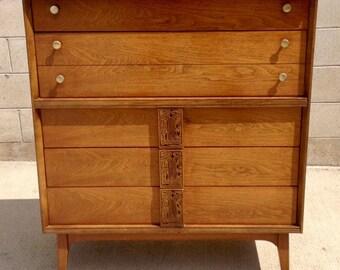 SOLD The Mayan Hiboy Dresser by Leo Jiranek for Bassett Furniture, Mid Century Modern Chest of Drawers, Mid Century Tiki, Dark Walnut Dresse