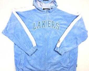 Rare Vintage Los Angeles LA Lakers NBA Reebok Hardwood Classics Throwback Blue Velour Zip Up Hooded Warm Up Track Jacket 3XL, Y2K Fashion