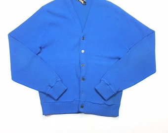70s Vintage JC Penney Blue Mens Cardigan Grandpa Sweater Mr Rogers Sweater L, Blue Grandpa Sweater, Mr Rogers Cardigan L, Button Up Cardigan