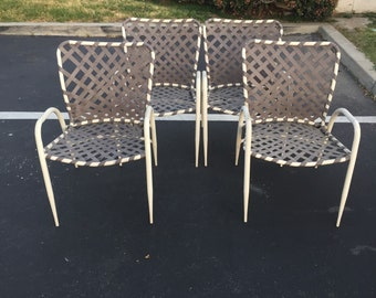 Set Of Four (4) Brown Jordan Tamiami Patio Chairs, Vintage Garden Chairs,  Mid Century Modern Backyard Chairs, Outdoor Chairs, MCM Lawn Chair