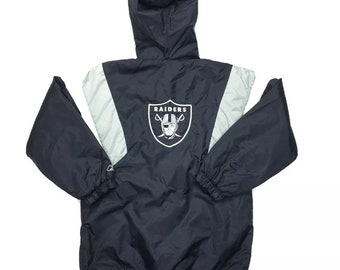 Vintage Reebok Oakland Raiders Puffer Hooded Jacket Size Youth XL or Adult Small, Raiders Puffy Jacket, Vintage Raiders Parka, NWA, Big Logo
