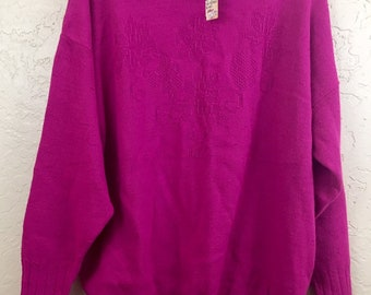NWT 90s Vintage Plus Size Hot Pink Magenta Flowered Pull Over Sweater by Private Eyes, 80s Pink Grandma Sweater, Vintage New Old Stock