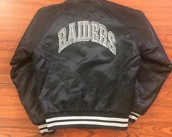 Vintage 90's Los Angeles Raiders Satin Puffer Jacket Youth Large chalk line