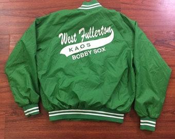 "Vintage 80's West Fullerton Koas Bobby Sox Wind Breaker Lime Green ""Mari"" Large"