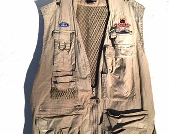 Vintage Tan Fishing Vest Ford Expedition Patches, Vintage Beige Multi Pocket Angling Vest, Master Sportsman Vest, Hip Hop Streetwear Vest