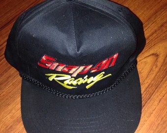 90s Vintage Snap On Racing Snapback Trucker Hat, 90's Race Car Baseball Cap, NHRA Hot Rod Truck Hat, Black Racing Baseball Hat