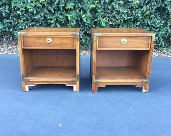 Compass Nightstands by Drexel, Set of Two Mid Century Nightstands, Pair of Two Vintage Campaign Bedside Tables, Two Bohemian Nightstands