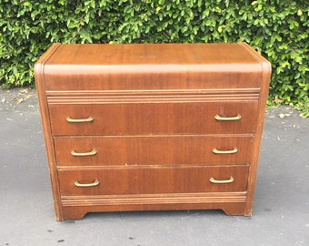 SOLD Vintage Art Deco Three Drawer Dresser, Art Deco Small Chest of Drawers, Walnut Bachelor Chest, Vintage Bedroom Dresser, Antique Petite