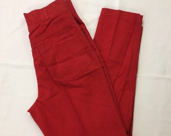 80s Vintage High Waisted Red Tapered Leg Ankle Trousers 7/8, Vintage Womans Red Trousers 24,  Vintage High Waist Tapered Ankle Red Pants 7/8