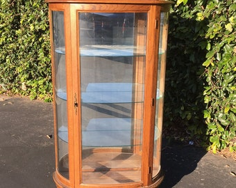 Vintage Curved Glass Mirrored Curio Cabinet, Antique Victorian Reproduction Curio, Tiger Oak Curio, Vintage Bow Front Mirror Display Cabinet