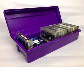 90s Vintage Purple Cassette Tape Box, Vintage Alpha Cassette Case, Hard Plastic Cassette Storage, Cassette Carrying Case, Tape Case
