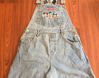 90s Vintage Disney Denim Short Overalls with Embroidered Mickey Mouse, Minnie Mouse & Donald Duck, 90s Streetwear, 90s Hip Hop Fashion