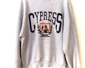 90s Vintage Cypress Centurions Pullover Crewneck Sweatshirt, Vintage Grey Academic Sweater, Cypress High School Spirit Wear  Sweatshirt