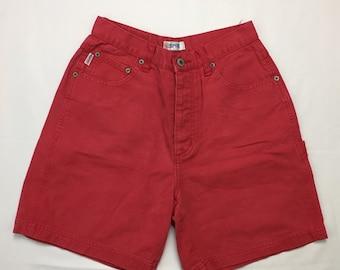 90s Vintage Esprit Red Denim High Waisted Mom Jean Shorts Size 7, Vintage Esprit High Waisted Shorts, Red Jean Shorts, Vintage Jean Shorts 7
